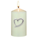 Love Heart Polished Pewter Candle Pins