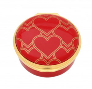 Round Enamel Box with Hearts by Halcyon Days