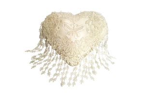 Cream Heart Shaped Cushion with Butterfly motif