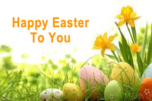 Happy Easter To You - Easter Eggs and Daffodils