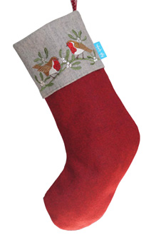 Christmas Stocking with robin and mistletoe