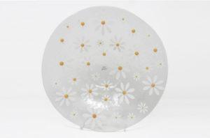 White Daisy Glass Bowl 30cm by Beserks Glass