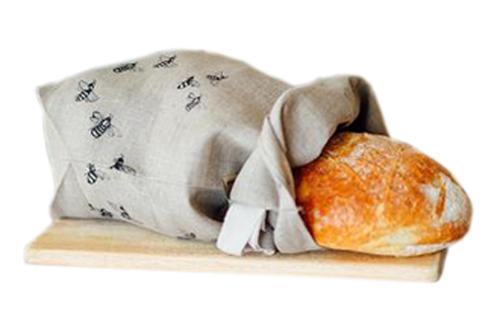 Linen Bread Bag Honey Bee Design by Helen Round