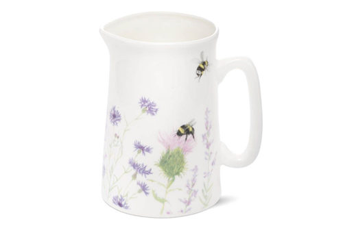 Bone China Jug with Bee and Wild Flower Design