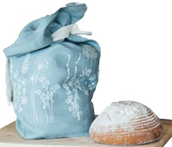 Linen Bread Bag with Hollyhock Print