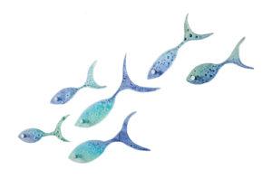 Mini Glass Shoal of Fish by Jo Downs